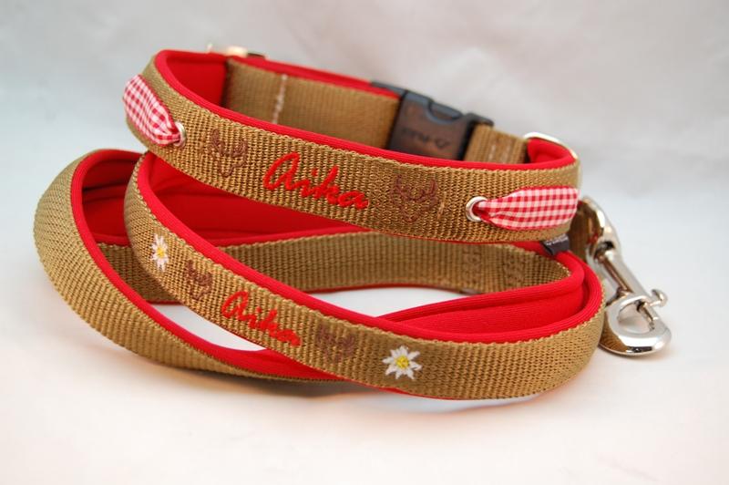 Alpenstil mit Name Hundehalsband und Leine
