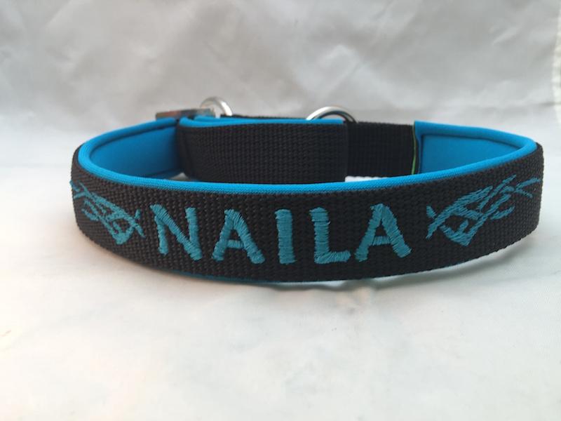 Zugstop Hundehalsband schwarz/hellblau