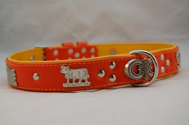 Appenzeller Lederhalsband orange