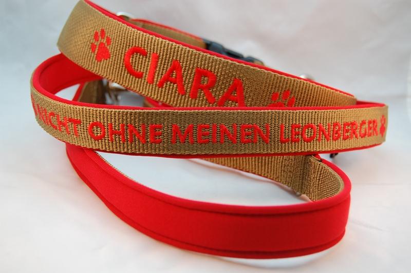 Hundehalsband und Leine Leonberger